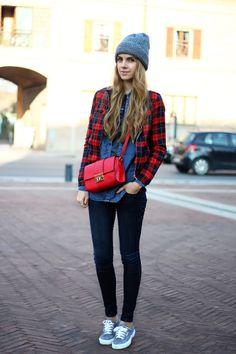 denim on denim, tartan bomber jacket, oversized beanie, superga sneakers, red crossbody bag, fall outfit