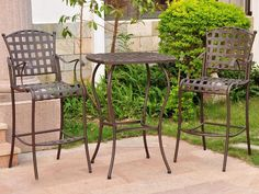 International Caravan Santa Fe Iron 3 Piece Patio Bar Bistro Set in Rustic Brown | $285 at e Patio Furniture | FAST FREE SHIPPING Nationwide to your Home.
