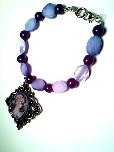 Purple Passion Glass Bead and Mother of Pearl by Pendantmonium, $13.00