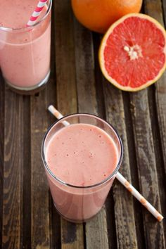 Grapefruit Smoothie: 1 ruby red grapefruit 1 cup frozen strawberries 1 ripe banana, peeled ½ cup Greek yogurt ½ cup orange juice ½ teaspoon vanilla extract 1 tablespoon honey.
