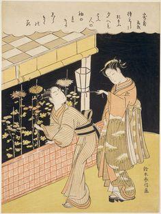 On the Subject of Chrysanthemums (Kiku ni yosu), from an untitled series illustrating poems on various themes  「寄菊」 夜菊を折り取る男女 Japanese Edo period about 1769–70 (Meiwa 6–7) Artist Suzuki Harunobu (Japanese, 1725–1770)