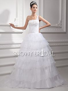 White A-Line Long Organza Tiered One Shoulder Dropped Wedding Dress - US$ 174.59 - Style W0607 - Snowy Bridal
