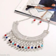 1 Set BD Fashion Women Exaggerated Beads Embedded Pendant Earrings Necklace