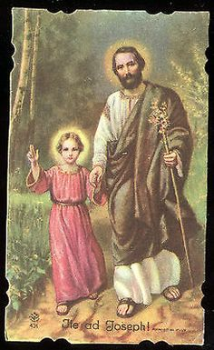 Old Holy Card of St Joseph and Jesus | eBay