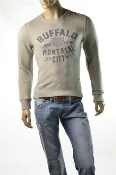 Buffalo Sweatshirt David Bitton Men's Long Sleeve Austin Gray Pullover Sz M NWT #BuffaloDavidBitton #SweatshirtCrew