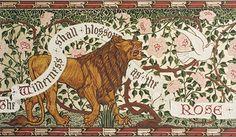 """Lion and Dove"" by Walter Crane (Bradbury and Bradbury Arts and Crafts Wallpapers)"