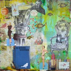mixed media collage - Take a Seat by Carly Swenson