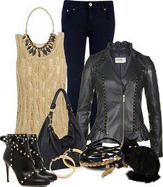 """Leather Jacket & Jeans"" by katc ❤ liked on Polyvore"