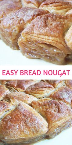 Easy Bread Nougat Recipe! This delicious baked good is equal part convenience and deliciousness. The top is crunchy and flaky, the bottom is gooey and sweet. It is one of my favorite quick weekend meals.