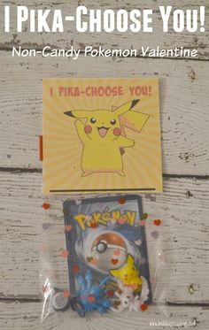 """I Pika-Choose You!"" Pokemon Valentine Printable, Pokemon valentines, DIY Pokemon valentines, Pokemon printable valentines, I Pika-Choose You printable, Pokemon, Pikachu valentines, Pokemon figures, Valentines for boys, Non candy valentine ideas, Non candy valentines for kids"
