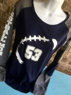 PLUS SIZE Football Mom Shirt with # on front, Football mom shirts, Long Sleeve preppy Tee, customized with # Football Spirit, Football Cheer, Football Boys, Football Names, Football Signs, Football Humor, Football Season, Football Crafts, Football Stuff
