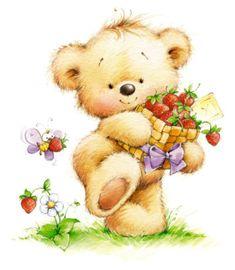 Teddy Bear - By: Marina Fedotova Bear Cartoon, Cute Cartoon, Cute Images, Cute Pictures, Art Mignon, Love Bear, Cute Teddy Bears, Tatty Teddy, Digi Stamps