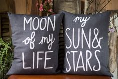 Pillow Set > Handmade Cotton Pillow > Moon Of My Life > My Sun & Stars > Hand Painted Quote Pillows > Decorative Pillow > Game of Thrones by HappyAbout on Etsy https://www.etsy.com/listing/202109538/pillow-set-handmade-cotton-pillow-moon