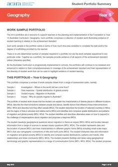 Year 6 Geography work sample portfolio
