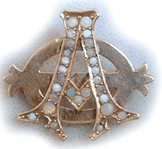 Unknown year/chapter Lazy Phi style Alpha Phi pin with opals.