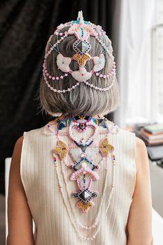 Gold statement necklace chunky necklace by RasaVilJewelry on Etsy Fashion Beads, Fashion Jewelry Necklaces, Fashion Necklace, Head Jewelry, Statement Jewelry, Jewelry Art, Crystal Crown, Glass Crystal, Crystal Beads