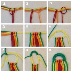 Detailed photo tutorial on how to make a straight beginning row with the friendship bracelets. Kumihimo Bracelet, Diy Bracelet Ends, Bracelet Fil, Bracelet Making, Macrame Jewelry, Macrame Bracelets, Friendship Bracelet Knots, Diy Friendship Bracelets Tutorial, Friendship Bracelets Designs