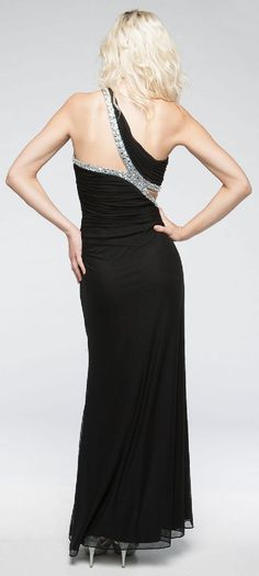 One Shoulder Long Formal Prom Dress with Bejeweled Bodice. a701