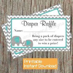 Diaper Raffle Tickets Baby Shower Aqua Grey Chevron Elephant Diaper Raffle Tickets Digital Printable Boy Diaper Raffle Tickets 008 by bumpandbeyonddesigns, $4.00 USD