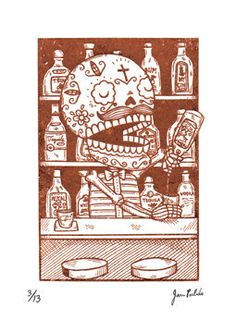 """1 color Gocco screenprint on Coventry Rag Paper. Limited Edition of 13. Measures 5"""" x 7"""""""