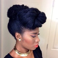 Updo with Forward Braided Bun Don't get stuck in a rut with the same black braid hairstyles. Try a voluminous loosely braided bun updo for an eclectic twist that would work well for black women with medium-to-long hair lengths. Cool Braid Hairstyles, African Braids Hairstyles, My Hairstyle, Kid Hairstyles, Black Hairstyles, Afro Hair Updo, Bandana Hairstyles, Pretty Hairstyles, Natural Hair Updo