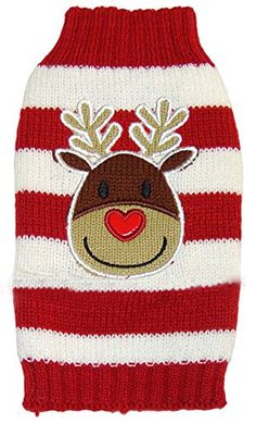 MaruPet New Year Doggie Ribbed Halloween Two-leg Sweater Knitwear Turtleneck Striped Elk Printed Christmas Cotton Vest Top for Teddy, Chihuahua, Shih Tzu, Yorkshire Terriers, Golden Retriever Red S