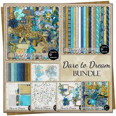 Dare to Dream {Bundle) Free Digital Scrapbooking, Project 365, Grab Bags, Vintage Ephemera, Journal Cards, Flourish, Yellow Flowers, Word Art, Swirls