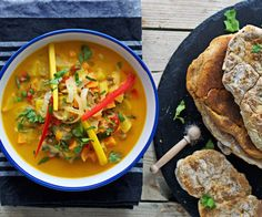 Coconut-Mango Stew with Homemade Naan Bread