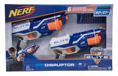 Nerf N-Strike Elite Disruptor 6 Dart Rapid Fire Nerf Gun Blaster Shoots 90 ft! (Twin Pack). 6-dart rotating drum Nerf N Strike Disruptors. Quick-draw blaster, Nerf guns rapid fire. Slam-fire action, great kids Nerf guns toys. Fires darts up to 90 feet (27 meters). Includes Pistol Nerf blaster, 6 Elite darts, and instructions.