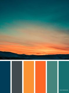 Orange teal sky inspired color palette ,landscape color scheme - - Orange teal sky inspired color palette A pretty colour palette. To get you started on your own palette, we've created over 100 beautiful colour palettes. Color Schemes Colour Palettes, Orange Color Palettes, Colour Pallette, Bedroom Color Schemes, Orange Palette, Orange Color Schemes, Sunset Color Palette, Palette Art, Autumn Color Palette