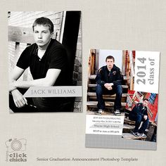 Guys Graduation Templates  Senior Card Announcement Set  Hall Of