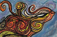 Abstract Bright Bird Watercolor Print  by CuriositycreatedKat