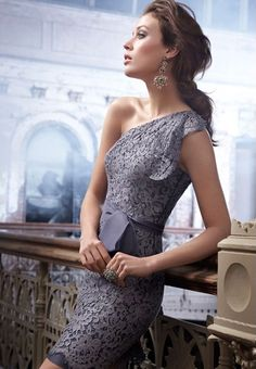 Perfect for the stylish bridesmaid, special occasion and the modern mom. Graphite alencon lace dress, one shoulder neckline with ruffle cascade at side, organza tie sash at natural waist, pencil skirt Short Bridesmaid Dresses, Lace Bridesmaid Dresses, Short Dresses, Wedding Dresses, Lace Dresses, Wedding Bridesmaids, Grey Dresses, Dress Lace, Cheap Dresses