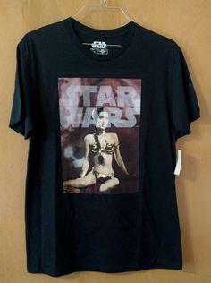 Star Wars Princess Leia in Gold Bikini T-Shirt Black Men's Size L Carrie Fisher #StarWars #GraphicTee