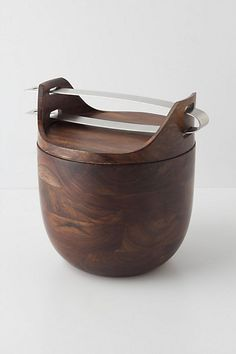Manly and contemporary Sheesham Ice Bucket with wood and stainless steel and includes tongs. Available for purchase at Anthropologie for 198 CDN Flat Web Design, Home And Deco, Home Look, Wood Turning, Kitchen Gadgets, Kitchen Tools, Kitchen Things, Kitchen Stuff, Kitchen Accessories