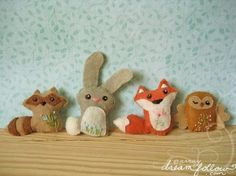 Mini Felt Woodland Creatures plush PDF pattern SET 1 by littledear, $5.00