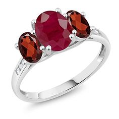 Genuine Garnet  Heart Solitaire with Diamond Accents.. Vermill over 925 Silver