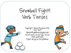 Speech Room News: Snowball Verb Sort! Pinned by SOS Inc. Resources.  Follow all our boards at http://pinterest.com/sostherapy  for therapy resources.