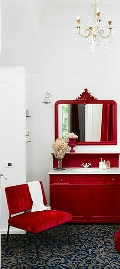 Fire In My Soul, Red Home Decor, Red Cottage, House Design, Mirror, Scarlet, Furniture, Country, Color