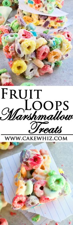 These rainbow FRUIT LOOPS MARSHMALLOW BARS are a spin on the class rice krispie treats. They are crispy and crunchy and so much fun to make for kids rainbow birthday parties or even St.Patrick's Day! From cakewhiz.com