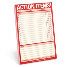 Knock Knock Action Items! Pad is a to-do list notepad that conveys urgency! List to-dos and priorities. Fun executive gifts and quirky gift ideas for work.