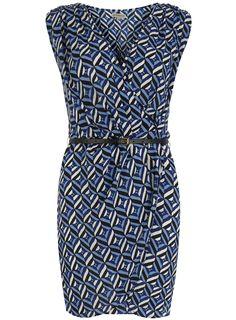 Blue geo deep V belt dress - View All - Dresses - Dorothy Perkins