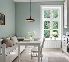 Scandinavian Kitchen In Green, Stone & White