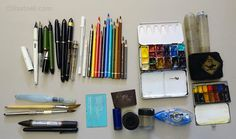 My current sketching kit My daily sketching kit as of October 2015 Listing Pens and Pencils (listed from L to R) – Lamy Joy pen with a gold nib (once was EF but now more like a F-M in thickness) with De Atramentis Document Ink black – please refer to note below for more details....