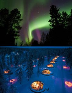 Glass igloos at Hotel Kakslauttanen for fantastic view of northern lights