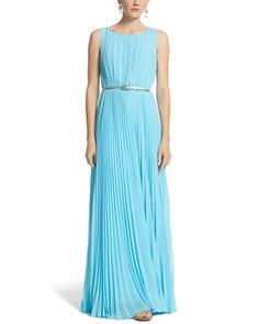 Looks like something Elsa from Frozen would wear.  White House | Black Market Sleeveless Pleated Maxi Dress #whbm