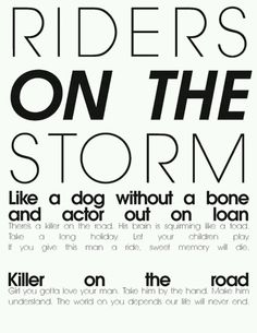 the doors - Riders on the Storm - song lyrics song quotes songs music lyrics\u2026