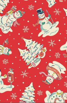 Snowmen - This cheeky print is full of festive cheer and lovely details, from robins and dogs to snowy Christmas trees, with a scattering of snowflakes.