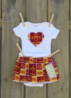 Iowa State Cyclones Heart Onesie and Skirt by SweetSugarBabyShop, $25.00