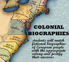 Includes six fictional biographies of European people who want to come to Colonial America. Students have to decide which of the 13 colonies the person would be best suited for an why.  Also includes a chart of the 13 colonies that the students can use for research.